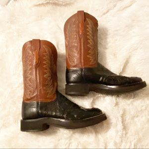 Lucchese Ostrich Cowboy Leather black Boots